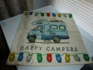 RV RELATED HAPPY CAMPER PILLOWS CLASS C MOTORHOME