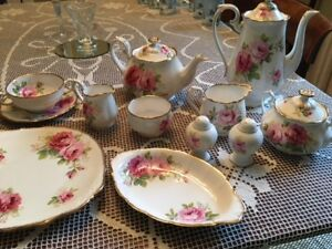 American Beauty china - 12 place settings plus serving pieces