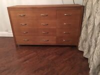 Marks and Spencer solid oak and oak veneer 8 drawer chest of drawers