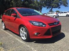 2014 Ford Focus LW MKII Titanium PwrShift Red/Black 6 Speed Sports Automatic Dual Clutch Hatchback Coffs Harbour 2450 Coffs Harbour City Preview