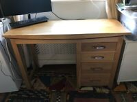 AS NEW Solid Oak 4 drawer desk 120w x 78 h x 45d