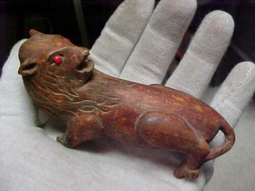 Grotesque Weird Unusual Enchanted OLD Hand Carved wooden Lion Red Eyes
