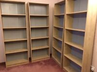 Tall bookcases, four shelves, beech coloured