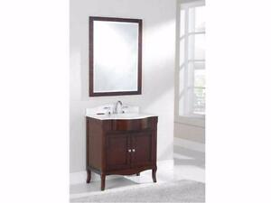 "Classic 32, 48 & 60"" Vanity in Rich Walnut Finish - 2 CT choices"