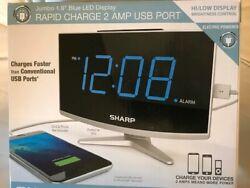 Sharp Digital Alarm Clock with Jumbo 1.8  blue LED Display 2 amp USB port