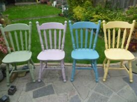 4 x Lovely Vintage Shabby Chic chairs up-cycled in different colour's