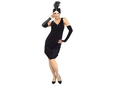 g Twenties 1920's Black w Fringe Beaded Adult Costume XL  (Roaring Twenties Flapper Kostüm)