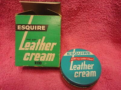 Esquire Leather Cream Red Box & Jar Advertising Vintage