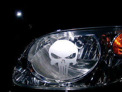 PUNISHER SKULL (PAIR) HEAD LIGHT Taillight sticker ETCHED DECALS A/I/L/S/V 2019