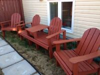NL made wooden lawn chairs and picnic table