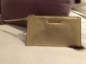 Michael Kors Bedford Pale Gold Leather Clutch Bag