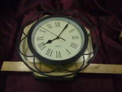 12 Roman #'ed-Black scrolled metal rim w/plastic body Cream Face Wall Clock-F/S
