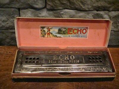 Vintage M. Hohner Echo Harmonica Key Of G 48 Hole Bell Metal Reeds In Box