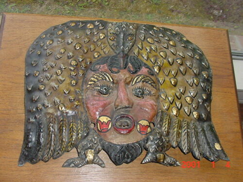 CLASSIC OLD ANTIQUE MEXICAN PAINTED COPPER FESTIVAL FOLK ART MASK