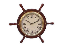 Solid Brass Ship Wheel Clock 15 - Nautical Wall Clock - Metal Ship Wheel