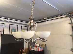 Five globe nickel chandelier for sale