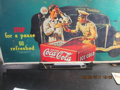 """Coca Cola  Sign Metal """"Stop For A Pause Go Refreshed """" Replica"""