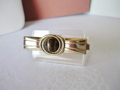 Vintage Goldtone & Brown Striped Stone Tie Clasp on Rummage