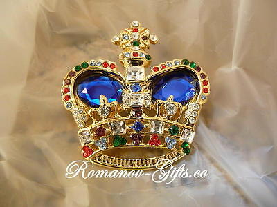 British Royal Queen Victoria CROWN BROOCH Pin Oval Sapphire gemstones  gift box