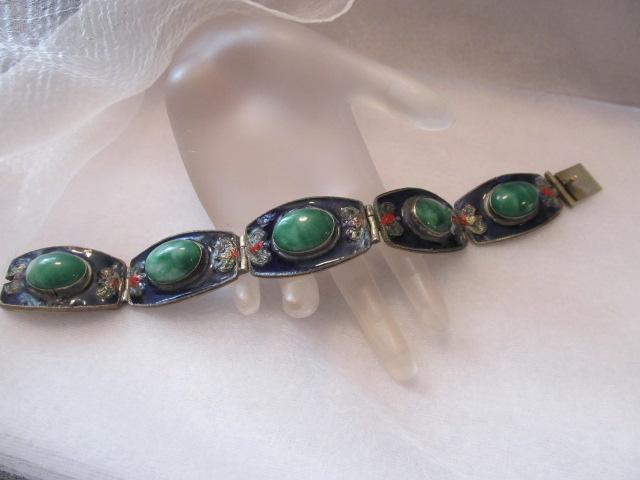 Estate Vintage-Antique Chinese Jade Silver Vermeil  Enamel Signed Bracelet