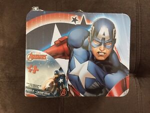 Avengers CAPTAIN AMERICA Puzzle in Collector's Metal Lunch Box