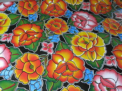 TEHUANA BLACK FLORAL MEXICO FIESTA KITCHEN DINE OILCLOTH VINYL TABLECLOTH 48x108 - Fiesta Tablecloth