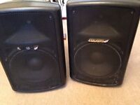 Music Speakers - Carlsbro 300 watt powered speakers - used but serviced - perfect for Singer/DJ/Band