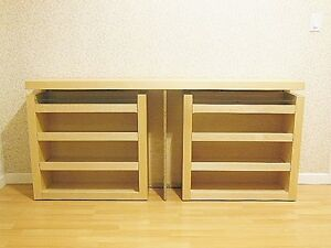 Ikea Malm Queen Size 3 Pc Headboard Bed Shelf Set