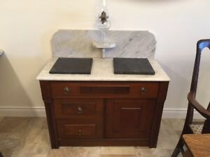 Dining Antique server with marble top