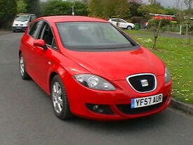57 REG SEAT LEON 1.9TDI STYLANCE DIESEL 5 DOOR HATCHBACK IN BRIGHT RED HPI CLEAR