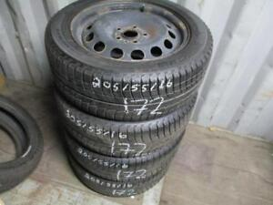 205/55 R16 VOLKSWAGON WINTER TIRES AND RIMS PACKAGE (SET OF 4) - USED MICHELIN X-ICE APPROX. 85% TREAD
