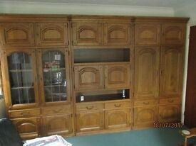 Large Cupboard/ Display/ Bar made from solid oak in Belgium. divides into 3 sections