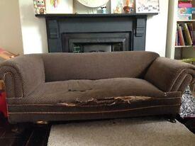 victorian drop arm sofa for reupholster