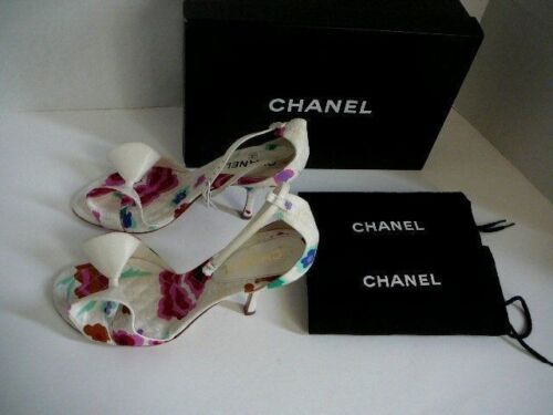 CHANEL CAMELIA CC LOGO SHOES 38 12 NEW WITH BOX