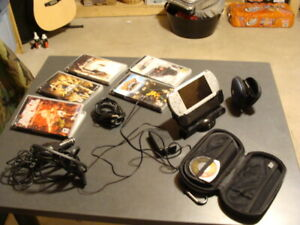 Silver Handheld PSP, case, cables, stand,