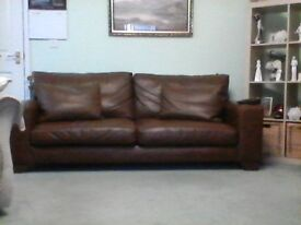Brown leather Next sofa, large 3 seater