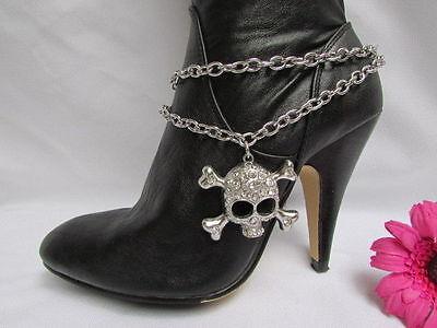New Women Silver Boot Chains Metal Skull Strap Bracelet Heart Western Shoe Charm