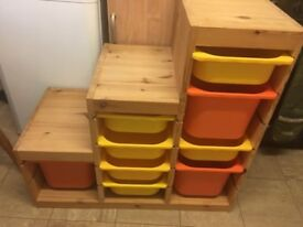 IKEA WOODEN TROFAST TOY STORAGE WITH TUBS GOOD CONDITION BARGAIN AT £40
