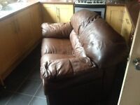 Free !! 2 seater brown leather sofa
