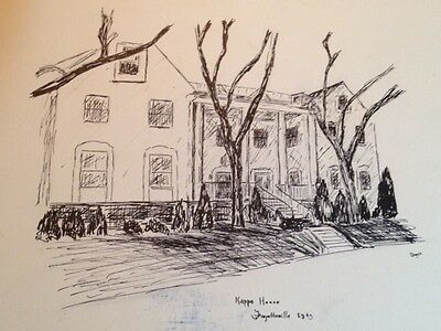 Kappa Kappa Gamma Sorority House Fayetteville Arkansas 1943 Print Sketch Photo