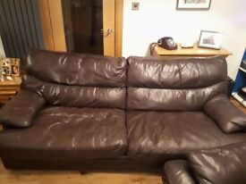 TWO G PLAN BROWN LEATHER SOFAS.