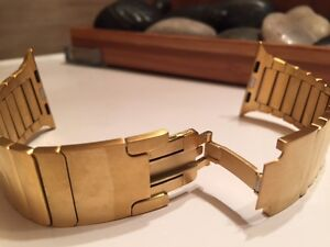 18K Gold Plated Stainless Steel Watchband for Apple Watch with..