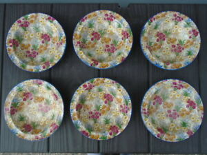 Royal Winton Marguerite Blue Trim Chintz Rimmed Bowls ( 6 )