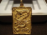 PURE 24K.999 SOLID GOLD CHINESE DRAGON AMULET PENDANT (RARE)