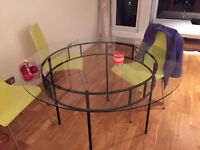 Stylish Rot - Iron Glass-Topped Round Dining Table Only For Sale