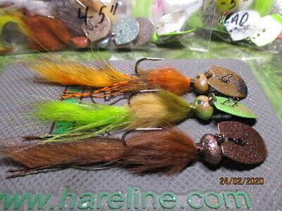 7 pk 1//2 oz Ultra Minnow Fishing Jigs Walleye Bass Bronze Sickle Hooks