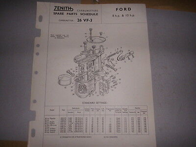 ZENITH 26 VF-3 CARB FORD 8HP, 10HP SPARE PARTS SHEET