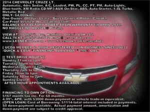 2014 CHEVROLET CRUZE LT -AUTO LOADED 64,KM -NO-ACCIDENTS!