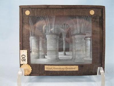 Magic Lantern Glass Slide Crypt Canterbury Cathedral England Black & White (O)