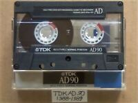 TDK AD 90 ACCOUSTIC DYNAMIC CASSETTE TAPES 1988-1989 JOB LOT OR SOLO AD90